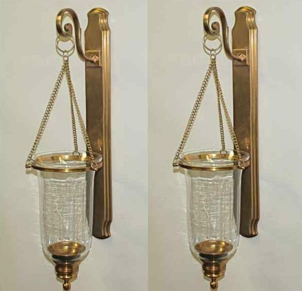 Set 2 antique brass clear glass hanging hurricane candle sconce  sc 1 st  Foter & Hurricane Candle Sconces Wall - Foter