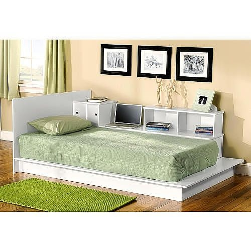 South beach platform storage bed white