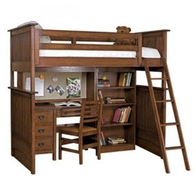 Student loft bed with desk