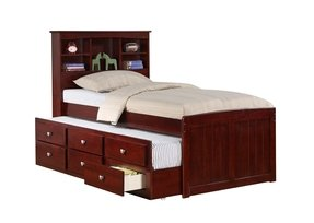 Twin Mission Captains Cappucino Bookcase Trundle Bed
