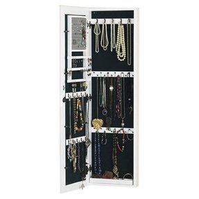 Wall mounted jewelry cabinet with mirror 2