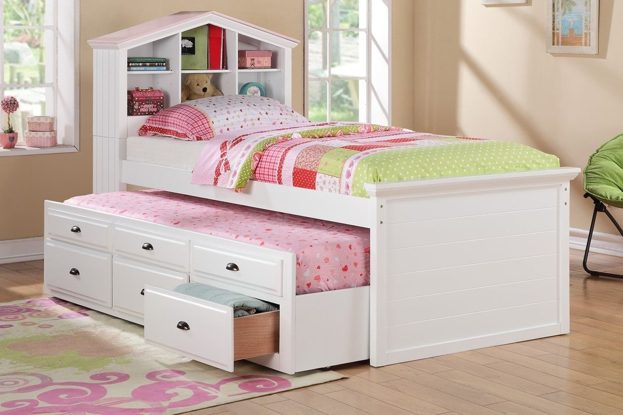 White captain twin bookcase bed w trundle bed and 3