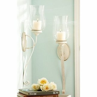 White wall candle sconces