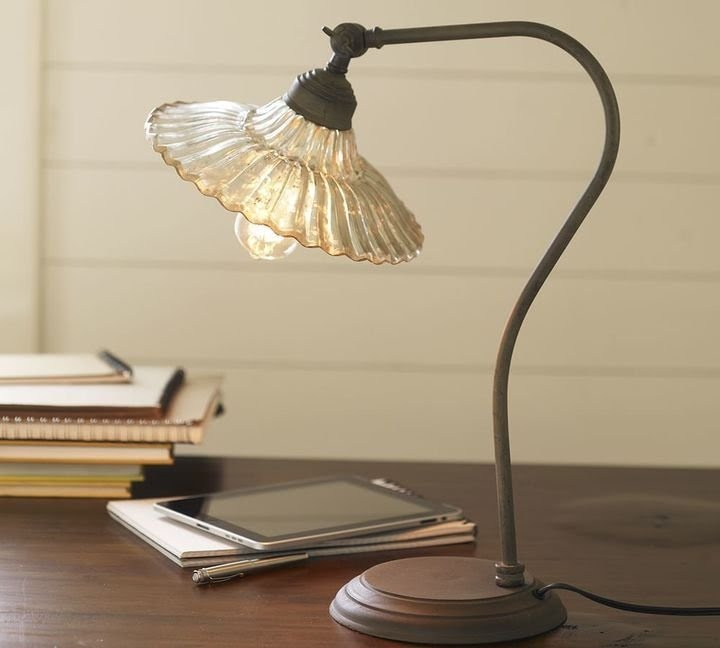 Whitney fluted glass art nouveau task table lamp
