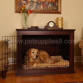 wood dog kennel add this solid and nicely finished wooden dog gate into your home and enjoy the safety zone for your lovely pet its not only useful - Wooden Dog Crate End Tables