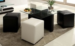 5 pc Ruti contemporary style black and white textured leather like vinyl upholstered coffee table and cube ottomans