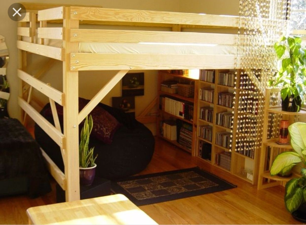 Loft bed with place for storage underneath. Construction is made of wood and reinforced with solid supports. Includes railings for added safety. & Loft Beds With Storage Underneath - Foter