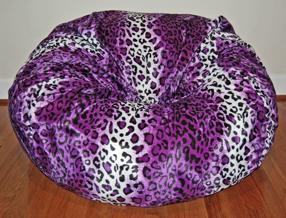 Ahh! Products Leopard Animal Print Fur Washable Large Bean Bag Chair, Purple