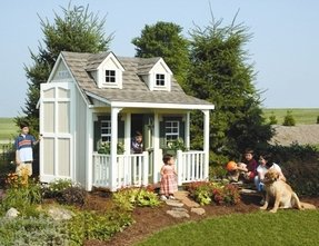 Backyard Cottage Playhouse with Front Porch, Dormers and Loft