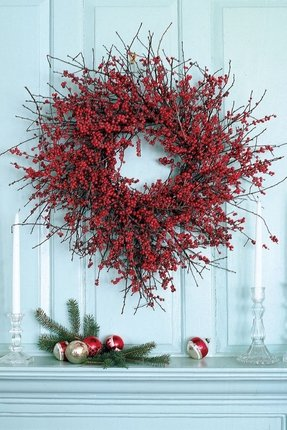 Berry wreaths front door 5