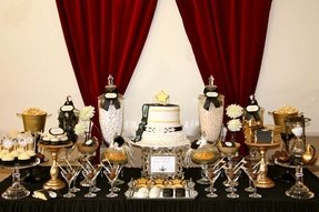 Black and gold candy table