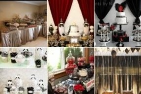 Black buffet tables