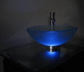 Beautiful Blue Glass Vessel Sinks With Waterfall Faucet