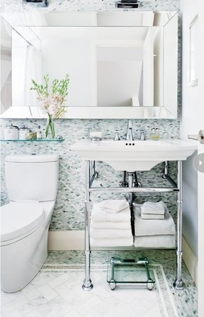 Console sink with shelf