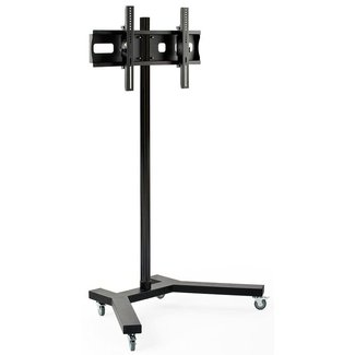 Displays2go TVSTNTR51 Monitor Stand with Locking Wheels, VESA Compatible, Steel Construction and Rolling TV Cart for Flat-Screen Television