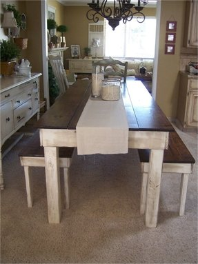 Farmhouse table with bench and chairs 1