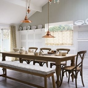 Farmhouse table with bench and chairs