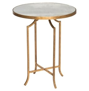 Fiji hollywood regency gold leaf antique mirror round end table