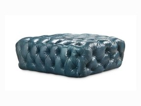 Fully tufted leather ottoman or table