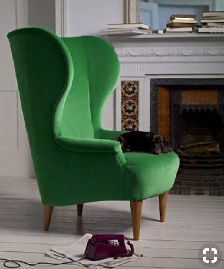 Lovely Green Wing Back Chair