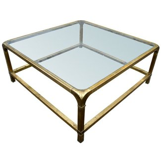 Large mastercraft rectangular brass coffee table thumbnail 1
