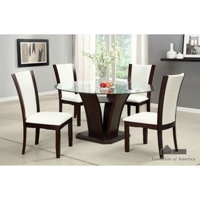 Manhattan Dark Cherry Finish 5-Piece Round Glass Top Dining Table Set / Ivory White Leatherette
