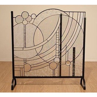 Mary Lu Winger Stained Gl Fireplace Screen Modern Art Deco