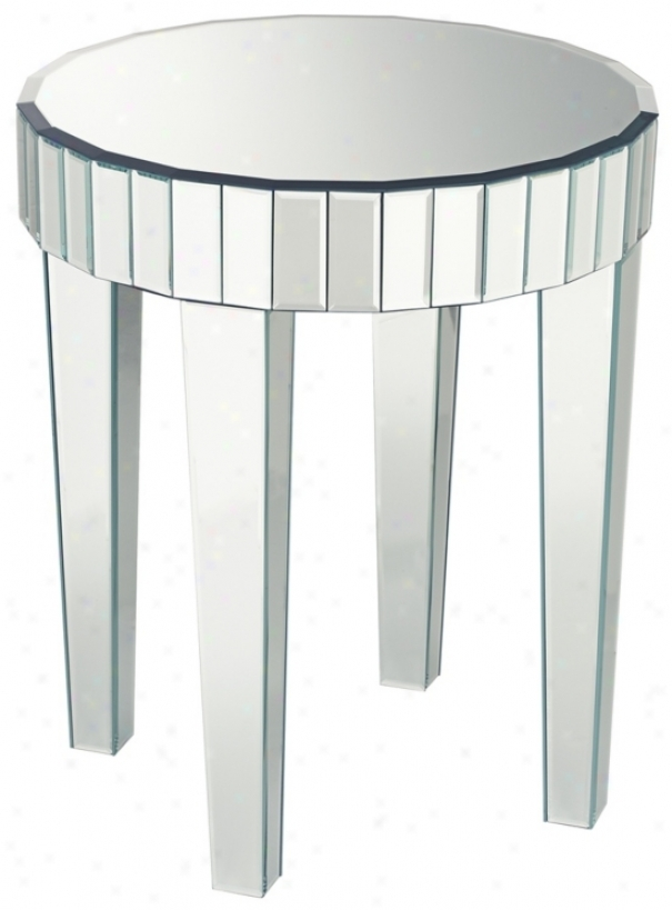 Merveilleux Mirrored Round End Table 1
