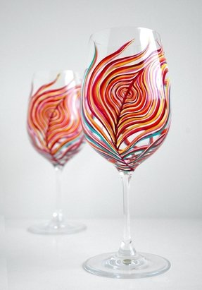 Neon peacock feather wine glasses set of