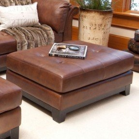 Rectangular leather cocktail ottoman