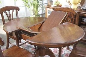 Solid wood round dining table with leaf