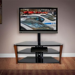 "Swivel Tv Mount up to 55"" Flat Screen Tv. A Black Entertainment Center with 3 Tempered Glass Shelves for Your Home Entertainment System. This Tv Stand for Flat Screens Has Wire Management and Flat Screen Tv Mount Holds up to 130 Lb Lcd/led/plasma Tv."