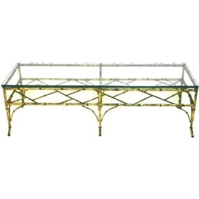 Vintage Faux Bamboo Metal Coffee Table Gl Top