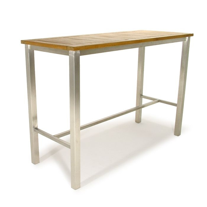Vogue Teak And Stainless Steel Bar Table