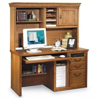 Wood desk with hutch