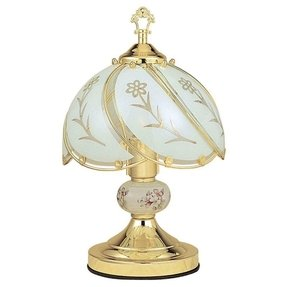 "14.25""h White Glass Floral Theme Gold Brushed Base Touch Lamp"
