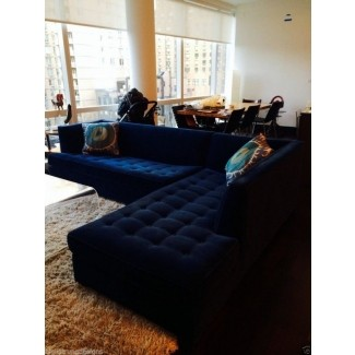 6500 Mitchell Gold Navy Blue Velvet Button Tufted Jordan Sectional Sofa