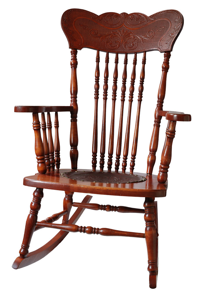 Exceptional Antique Wooden Rocking Chair 1