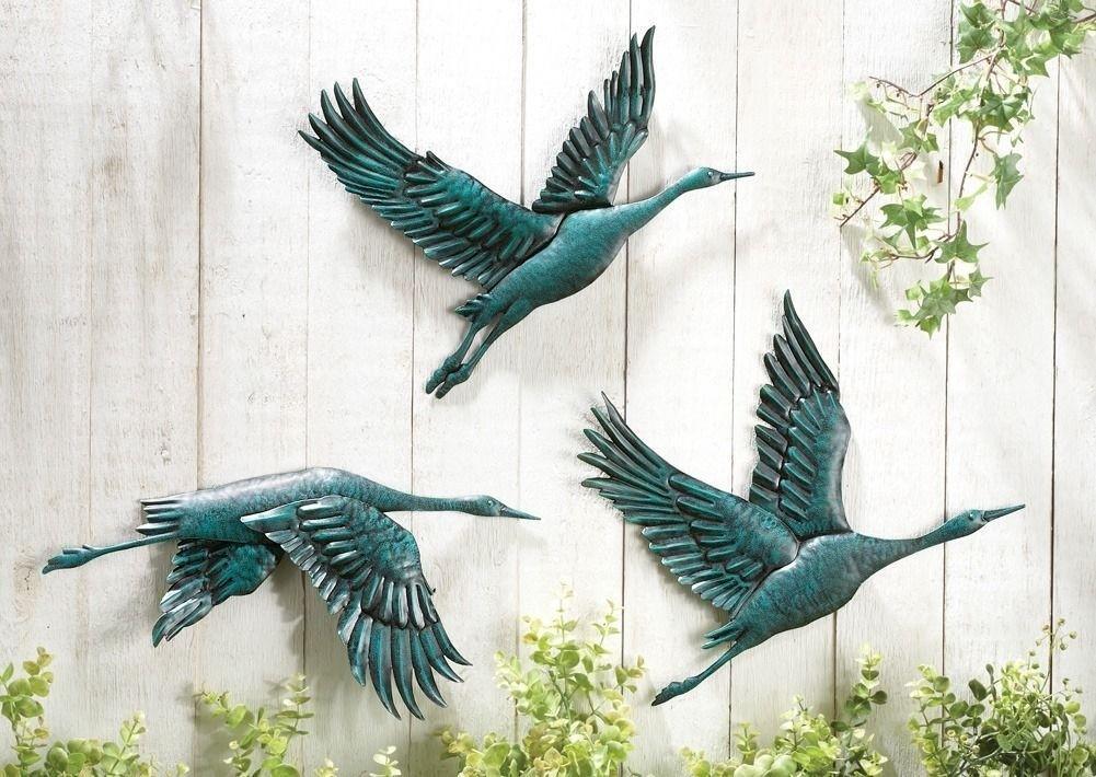 Birds In Flight Metal Wall Decor   Set Of 3