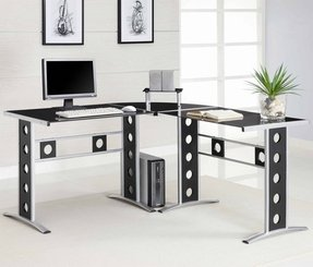 Black glass l shaped desk