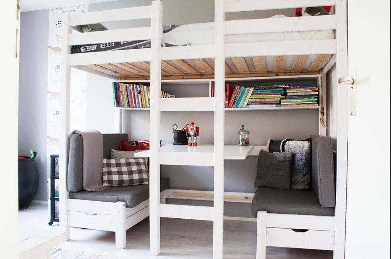Delightful Bunk Bed With Table Underneath   Foter