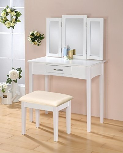 Contemporary Vanity Set With Tri  Fold Mirror And Beige Cushion Stool In  White Finish