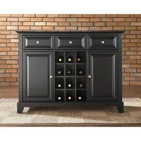 Crosley Newport Buffet Server Sideboard Cabinet With Wine Storage In