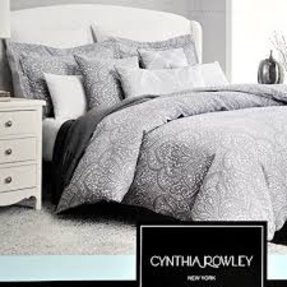 Cynthia Rowley 3pc King Duvet Cover Set Gray And White Paisley Medallions
