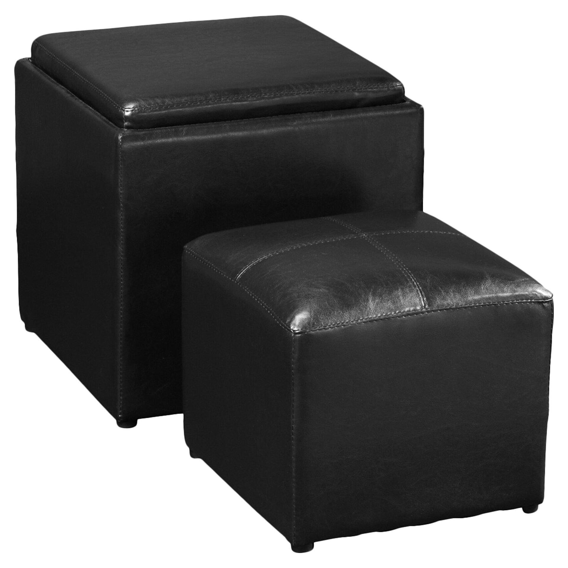 Faux Leather Storage Ottoman With Tray And Side Ottoman Espresso