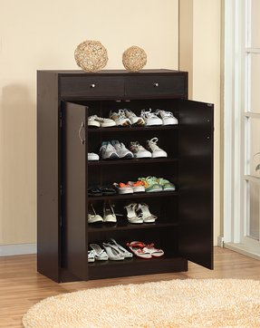 Five shelf shoe cabinet with two upper storage bins 1