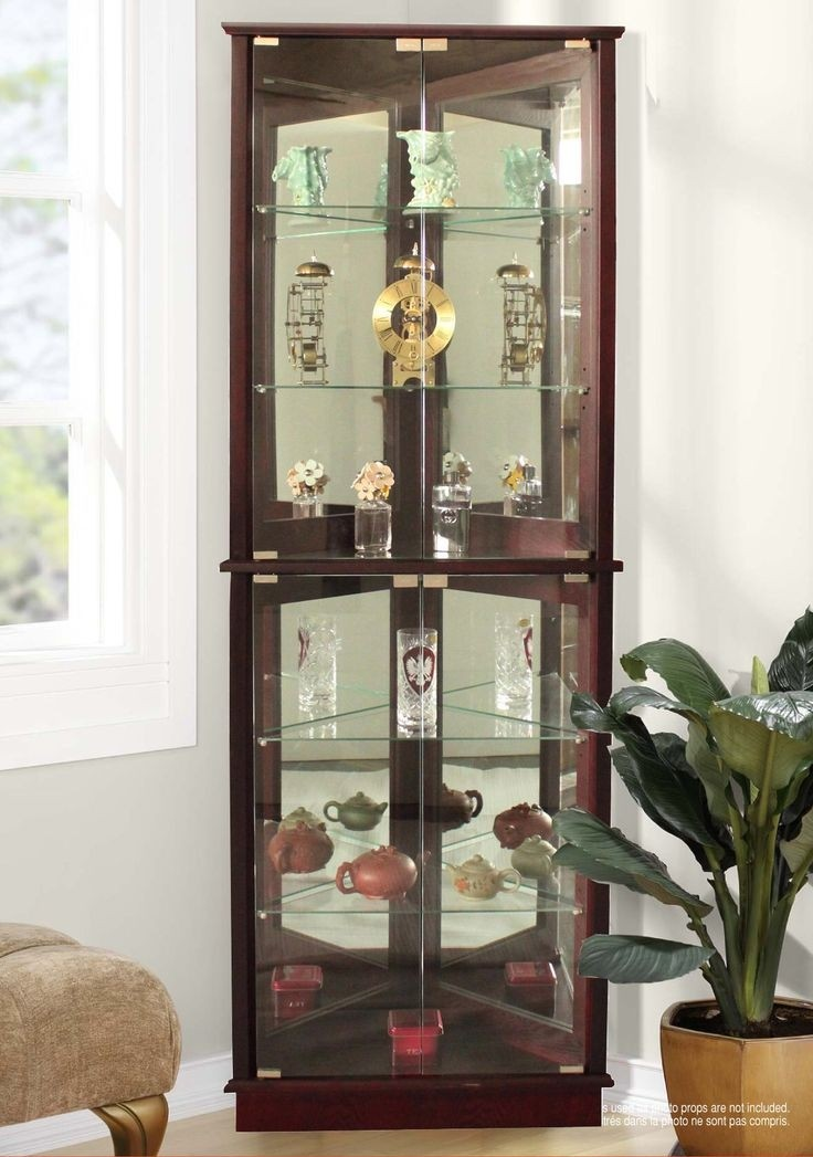 Floor Standing 3 Sided Corner Curio Cabinet