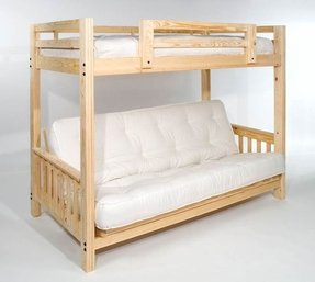 "Futon Bunk Bed - Complete w/ Two 9"" Futon Mattresses - Eco-friendly - Solid Wood - USA"