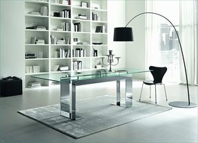 Glass chrome dining table