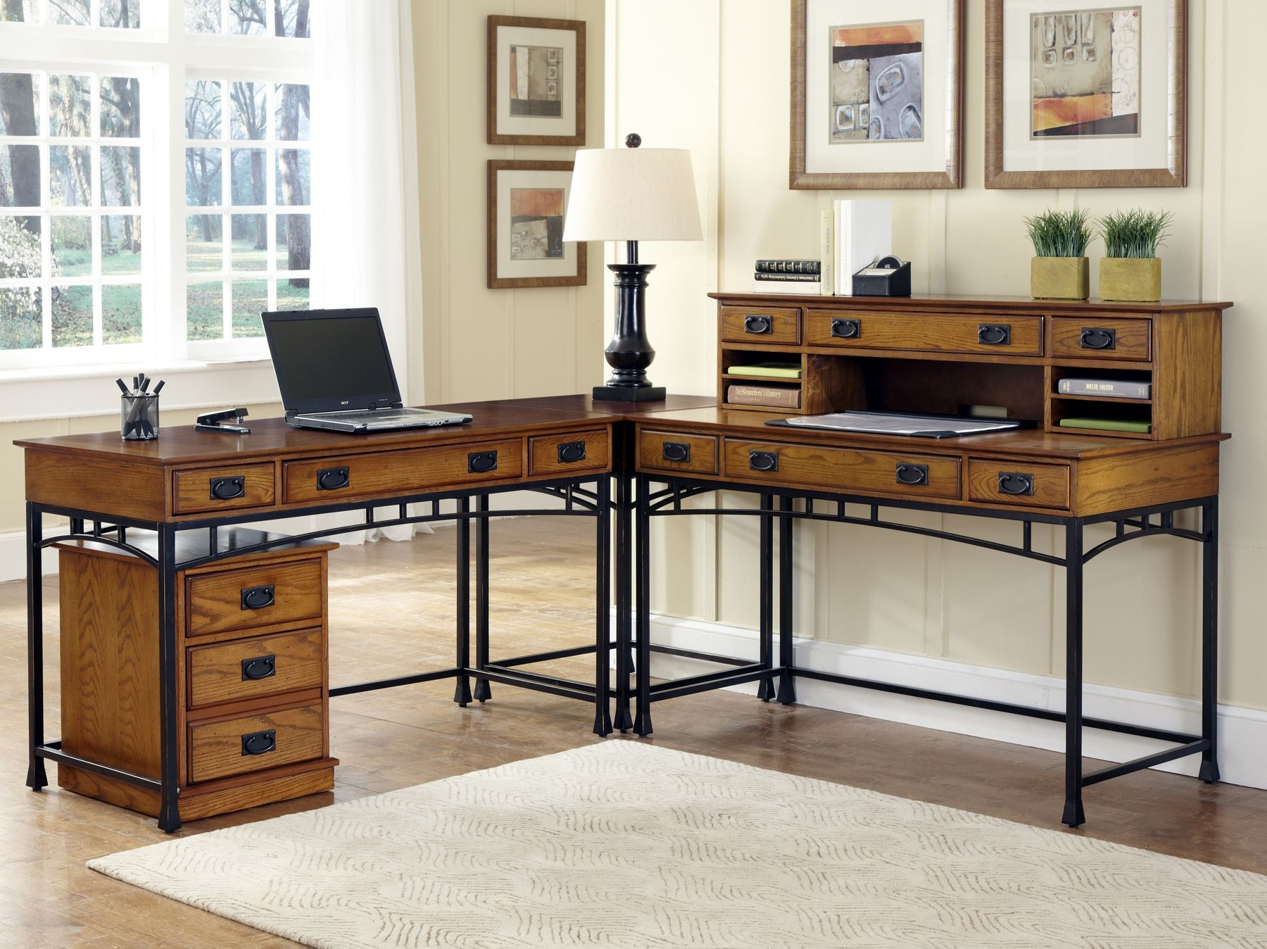 Home Styles Home Styles Modern Craftsman Corner L Shaped Desk With Optional  Mobile File